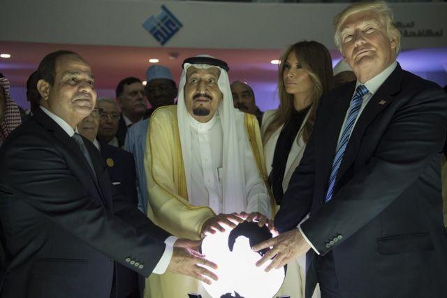 Presiden Trump dalam salah satu acara kunjungan di Riyadh 2017