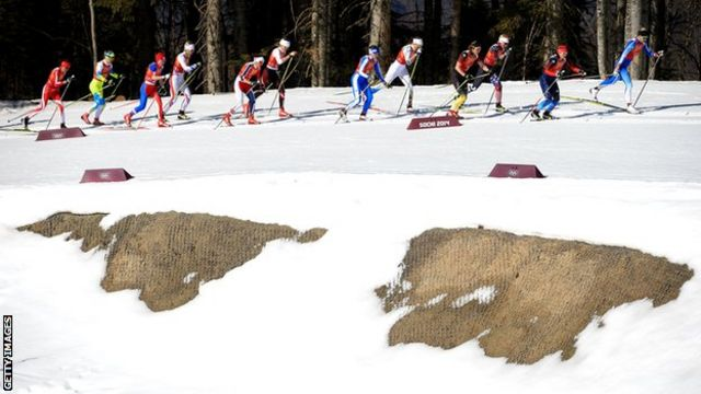 Melted snow at Sochi Olympics