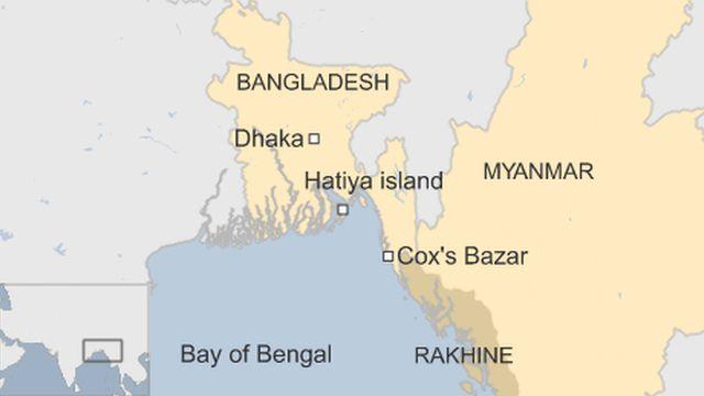 移住が計画されているテンガール・チャール島はハティア(Hatiya)島の近くにある