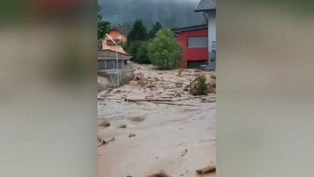 Mudslide in Afritz village, Austria