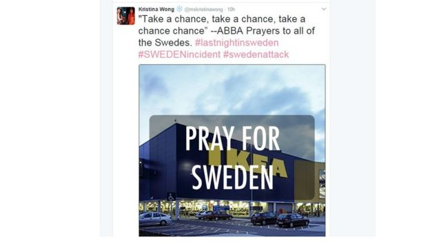 Pray for Abba, joked a tweeter after Trump's Sweden comments