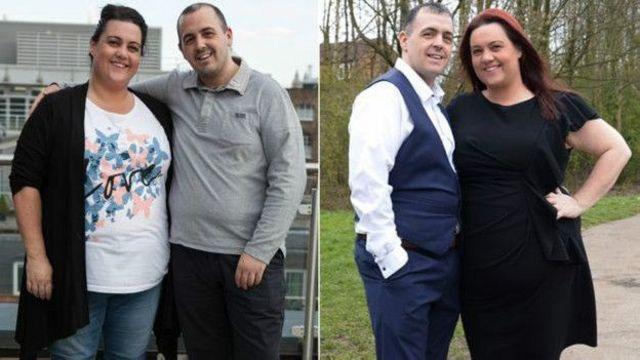 Casal antes e depois do programa