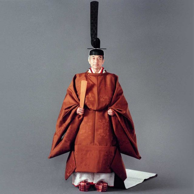 Japanese Emperor Akihito in ceremonial outfit, 1990