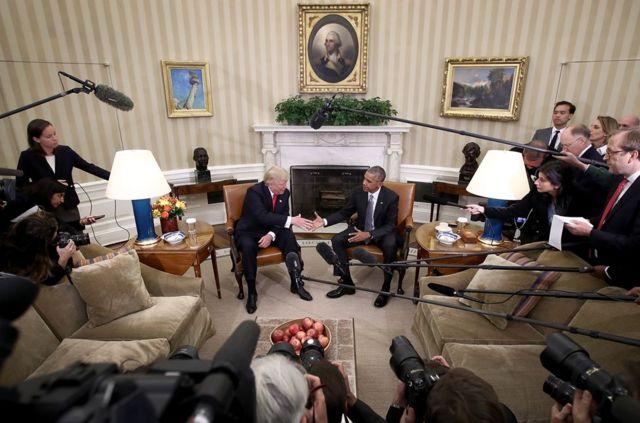 باراك أوباما والرئيس المنتخب دونالد ترامب