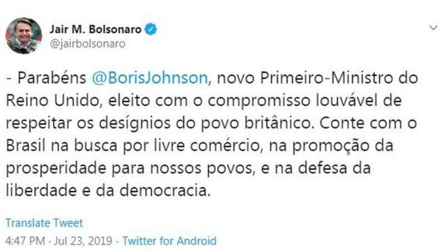 Tuite de Bolsonaro