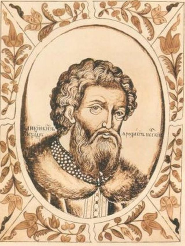 "Александр Невский, миниатюра из ""Царского титулярника"" 1672 года"