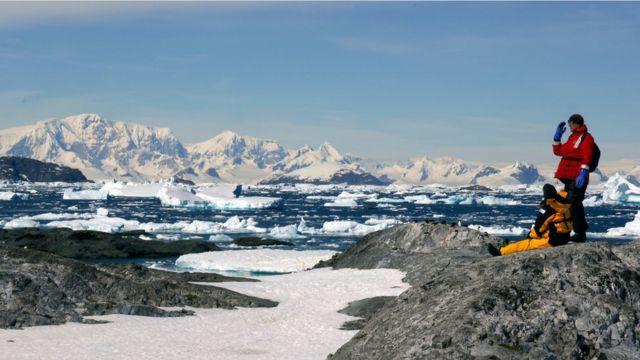 Turistas en la Antártida.
