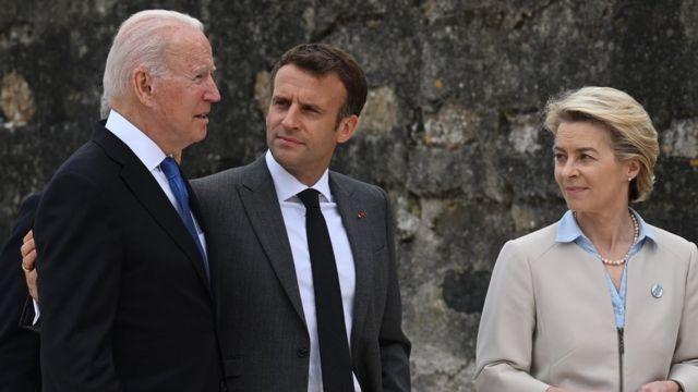 Biden se uniu a outros líderes mundiais como o presidente francês Emmanuel Macron e a chefe da Comissão Europeia Ursula von der Leyen
