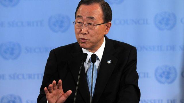 Ban Ki-moon, secrétaire général de l'ONU s'exprimant sur la situation au Soudan du Sud à New York le 11/07/2016