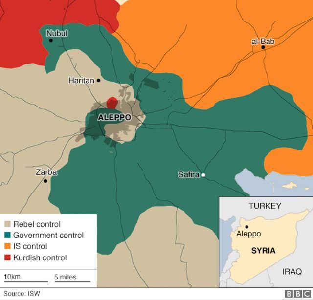 アレッポ周辺の各勢力図(土色:反政府勢力、緑:政府軍、オレンジ:IS、赤:クルド人勢力)