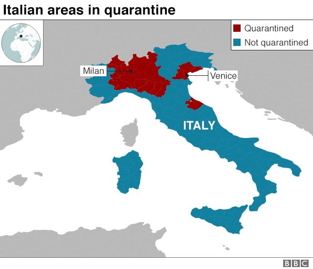 Map showing Italian areas in quarantine
