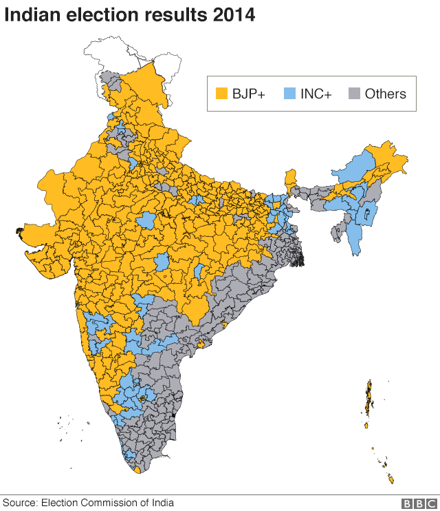 2014 India results map