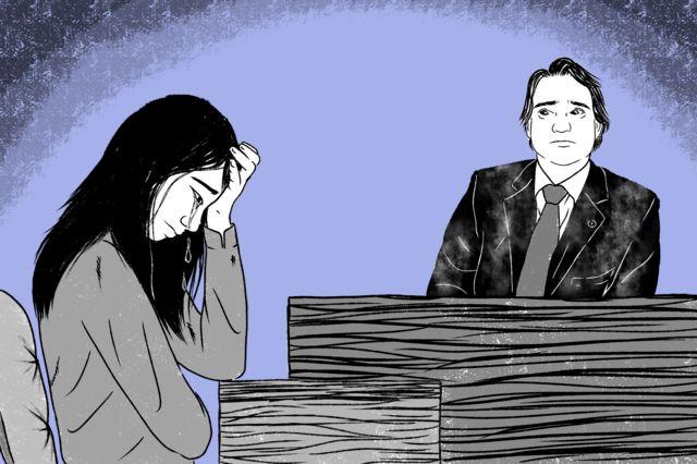 Ilustração - Laura chorando na audiência com o juiz