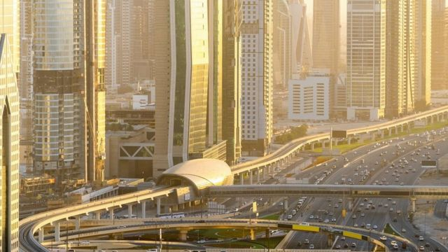Aerial view of Dubai Highway