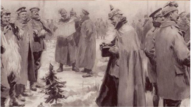 Oficiais e soldados alemães e britânicos