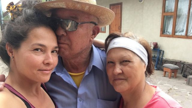Gulnara and her parents during a visit to Kyrgyzstan in 2016