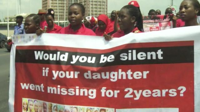 Families of the missing marching in Abuja
