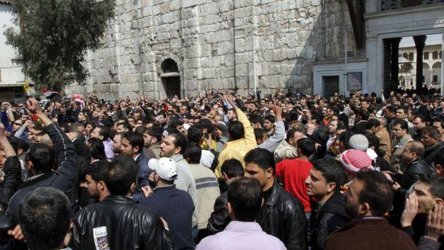 Мечеть Омейядов в Дамаске. Протестующие поддержали задержанных в Дераа