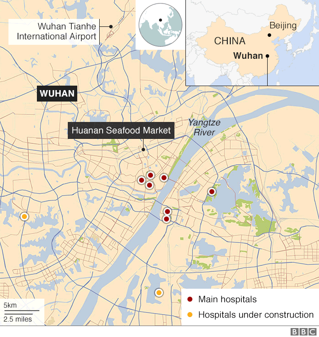 Map of hospitals in Wuhan