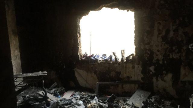 Сгоревшее здание в Багдаде