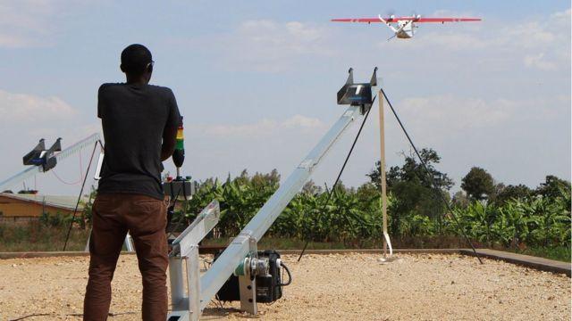 Lancé de drone au Rwanda