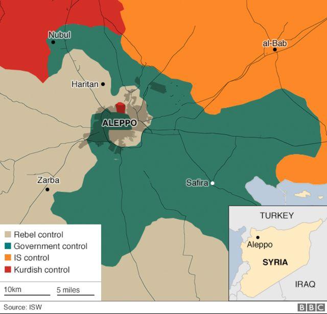 アレッポ周辺の勢力図(緑が政府軍、灰色が反体制派、オレンジが過激派組織「イスラム国」、赤がクルド人勢力)