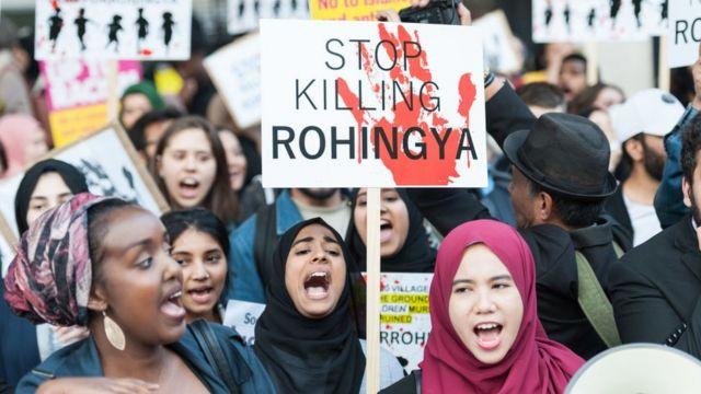 Demonstrators in London protest Myanmar's treatment of the Rohingya
