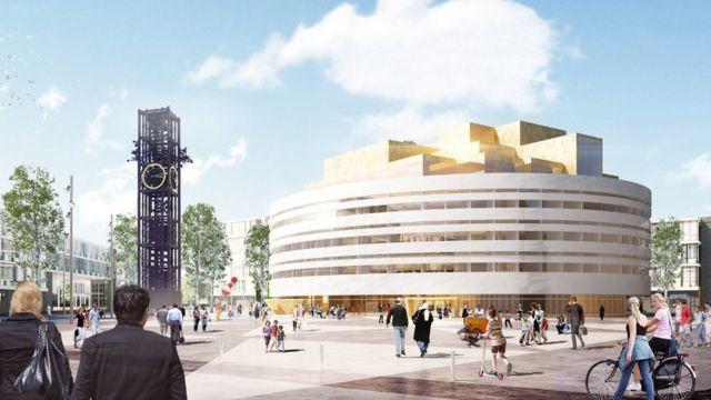 Ilustração da nova prefeitura de Kiruna