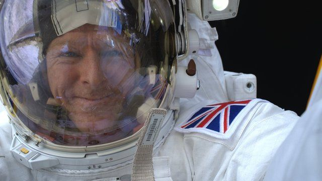 Selfie taken by Tim Peake while out on a spacewalk on the ISS