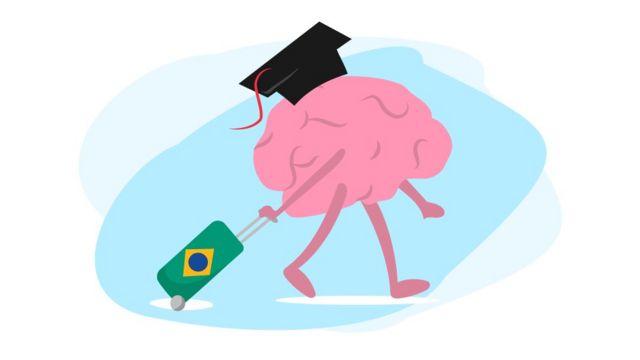 """Ilustração mostrando """"cérebro"""" de malas prontas"""
