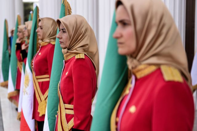 Female MEK guards at the Free Iran conference