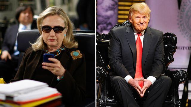 2011年にリビアへ向かう機内でメールを読むクリントン国務長官のこの写真は、後にインターネットで広く拡散された。左は、自分をからかうためのバラエティ番組に出演したトランプ。
