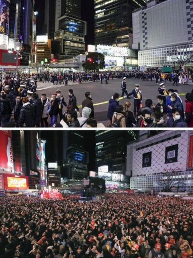 Celebración de Año Nuevo en Japón en 2021 y en 2020