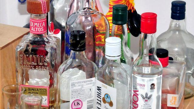Bottles of alchohol in Reynhard Sinaga's flat