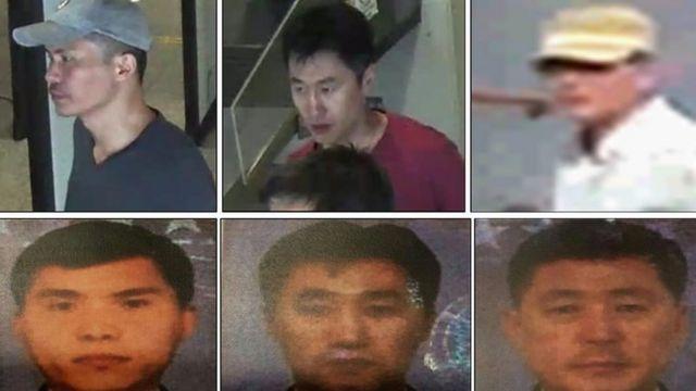 马来西亚警方通缉的五名朝鲜籍嫌疑人中的三位。