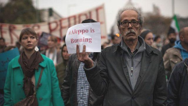 'حلب میسوزد' تجمع اعتراضی در برلین آلمان