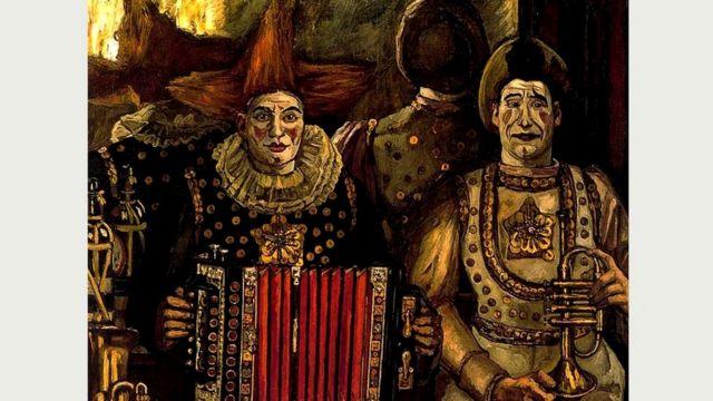 Картина Соланы (1920 г.) отчетливо передает чувство страха с помощью выражения лиц клоунов