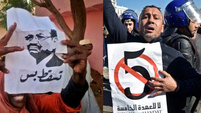 صورة لمتظاهر من الجزائر ( على اليمين) صورة أرشيفية لمظاهرة تطالب بتنحي البشير في السودان (على اليسار)