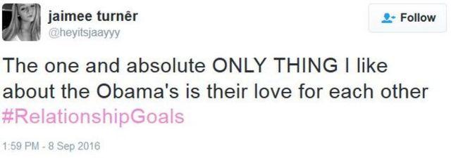 あるユーザーは「ひとつ、ただひとつだけオバマについて好きなところを挙げるとしたら、お互いへの愛情」とツイートした
