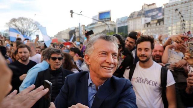 Mauricio Macri em comício no dia 19 de outubro de 2019