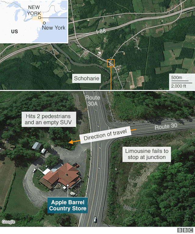 Map showing location of limousine crash in which 20 died in New York state, US, 8 October 2018