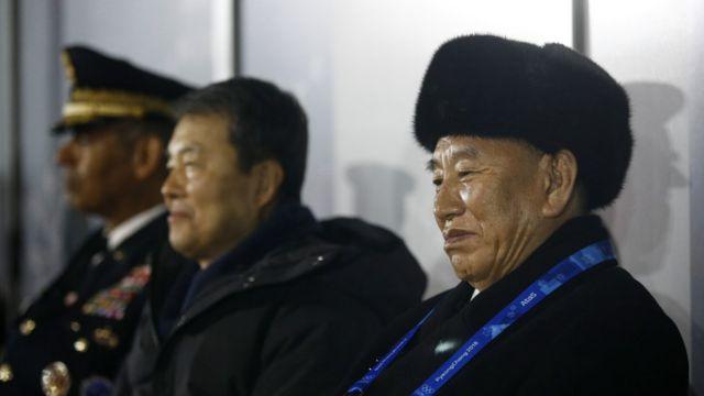 지난 2월 평창 동계올림픽 폐막실을 찾은 김영철 북한 통일전선부장
