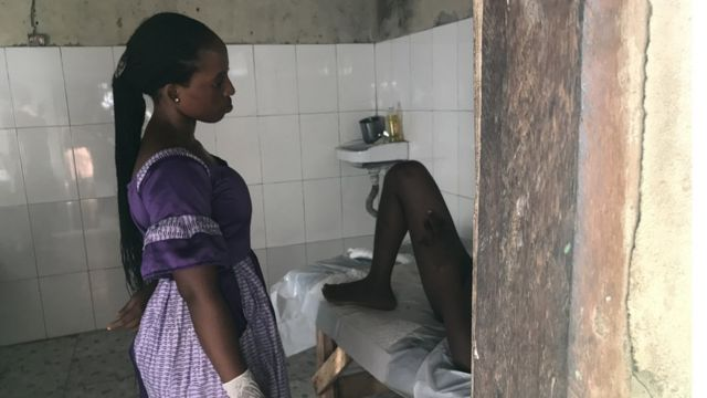 Woman giving birth at Mama Stella's traditional birthing home in Epe, Nigeria