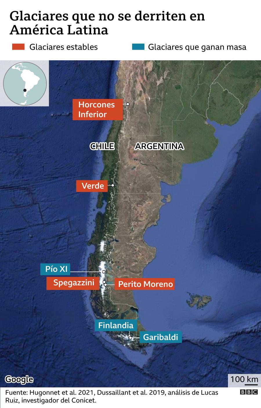 Mapa de ubicación de los glaciares