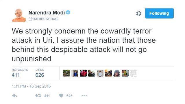 भारत के प्रधानमंत्री मोदी का ट्वीट