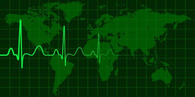 Mapa del mundo en terapia intensiva.