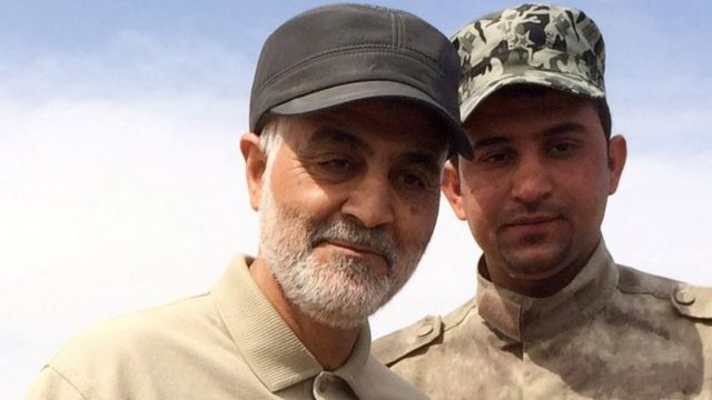 Qassem Soleimani (L) during offensive operations against Islamic State militants in 2015