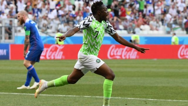 Ahmed Musa afta e score goal against Iceland for 2018 World Cup