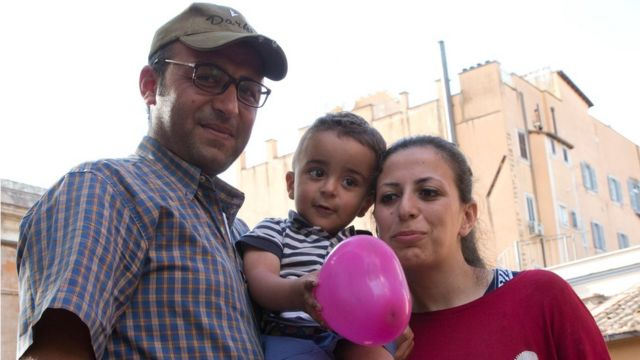 Syrian refugee Nour Essa, her husband Hasan Zaheda and their two-year-old son Riad.