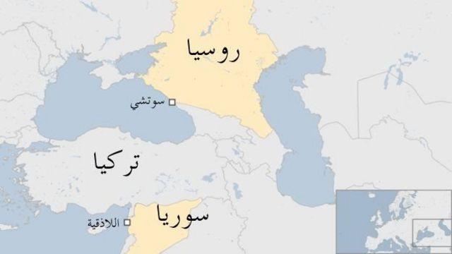 خريطة من روسيا إلى سوريا